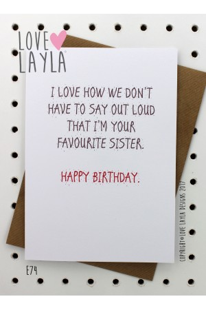 Favourite Sister | Love Layla Novelty Cards and Gifts